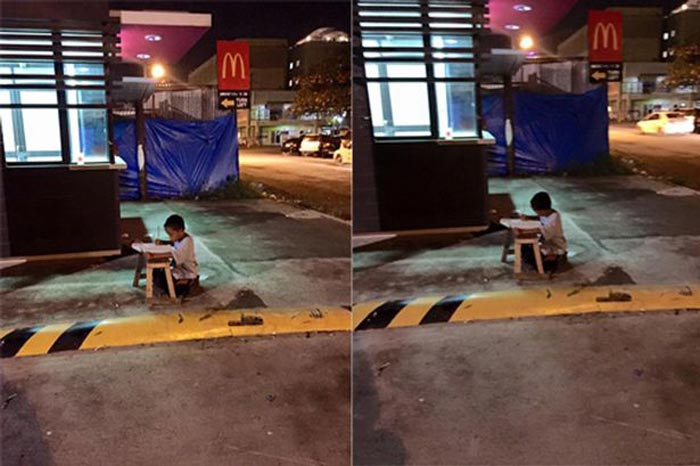 The homeless boy who was pictured outside McDonald's doing homework has now received overwhelming aid