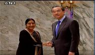 Sushma Swaraj raises issue of China's veto to ban Masood Azhar, as she meets Chinese counterpart Wang Yi