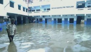Overflowing drain prevents students from commuting to Udhampur School