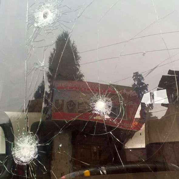 Bus attacked in Lawat
