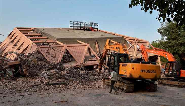 Once a marquee of modern India, now the Hall of Nations lies in rubble