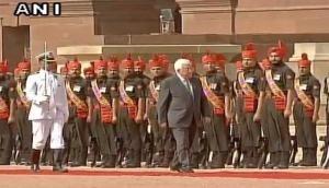 Palestine President accorded reception at Rashtrapati Bhawan