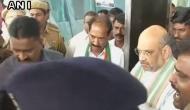BJP President Amit Shah arrives in Puducherry