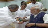 Widows from Vrindavan, students tie PM Modi rakhi in Delhi