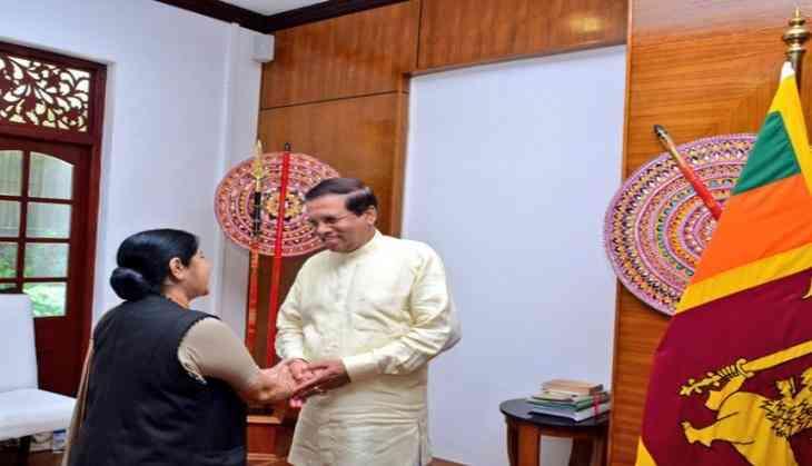 Sushma Swaraj meets Sri Lankan President, PM Ranil Wickremesinghe