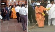 UP CM Yogi Adityanath visits Taj Mahal, sweeps over filth