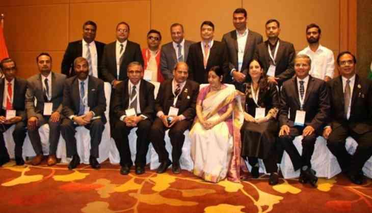 Sushma Swaraj meets Indian diaspora in Singapore