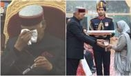 Emotional moment: President Ram Nath Kovind gets emotional when martyr JP Nirala's wife receives Ashok Chakra
