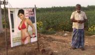 गजब: किसान ने खेत में लगाई सनी लियोनी की बिकनी वाली तस्वीर, जानिए क्या है वजह?