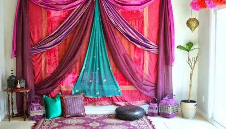 Hosting holi party use dupattas for home d cor catch news for Holi decorations at home