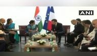 French President Macron meets Swaraj