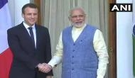 French President Emmanuel Macron meets PM Modi