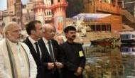 French president Emmanuel Macron enjoys boat ride on Ganga
