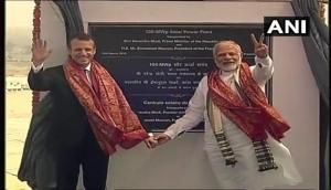 पीएम मोदी और फ्रांस के राष्ट्रपति मैक्रों ने मिर्जापुर में सोलर प्लांट का किया उद्घाटन