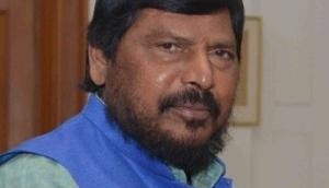 Watch: Union Minister of State Ramdas Athawale slapped and pushed by a man in a function in Thane