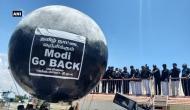 तमिलनाडु: पीएम मोदी का जोरदार विरोध, एयरपोर्ट पर लगाया 'मोदी गो बैक' का बड़ा गुब्बारा