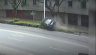Unbelievable! Car flipped twice after trashing divider, driver arised uninjured; watch video