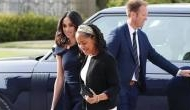 Meghan Markle wears a navy blue Roland Mouret outfit to arrive at Cliveden House; video inside