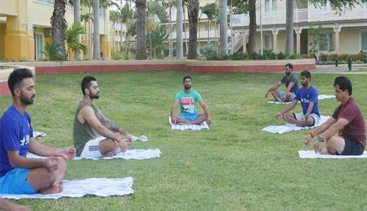 Image result for ravi shastri kohli gym yoga
