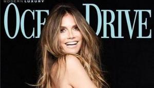 Supermodel Heidi Klum poses topless for Ocean Drive's Swimsuit double issue