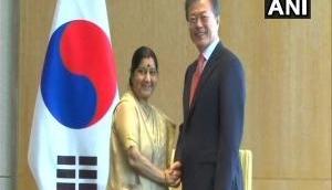 Sushma Swaraj meets South Korean President Moon Jae-in