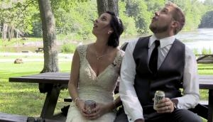 Hilarious! Bride and groom narrowly escape falling tree branch during wedding video shoot