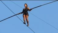 Viral Video: French woman walks tightrope on 35-metre high wire sans security equipment