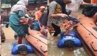 Kerala Flood: बाढ़ में फंसे लोगों की जान बचाने के लिए खुद सीढ़ी बन गया NDRF का जवान, देखें वीडियो