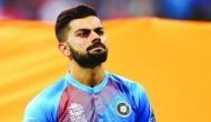 Virat Kohli replies with a shoulder-nudge to Beuran Hendricks' intimidating stare