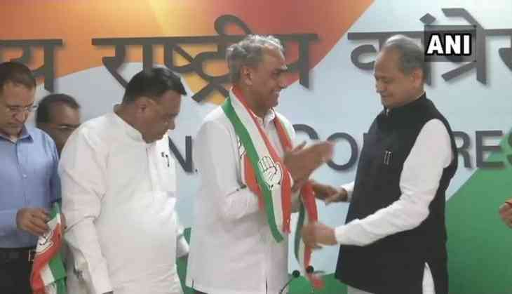 Rajasthan Assembly Election 2018: Sitting BJP MP Harish Meena joins Congress in presence of Ashok Gehlot, ahead of polls