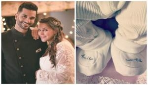 Check out the first glimpse of Neha Dhupia and Angad Bedi daughter Mehr shared by her grandfather; here's the cutest pic