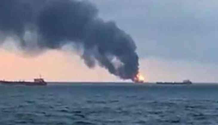 Ten crew members dead as two gas tankers catch fire near Crimea