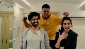 Before Poster Chapwa Do Song; Kartik Aaryan and Kriti Sanon from Luka Chuppi met original Aflatoon Akshay Kumar, see video