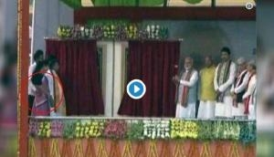 Video: Caught on Camera! Tripura minister on stage with PM Modi, gropes woman ministerial colleague during Agartala rally