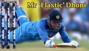 MS Dhoni's 2.14 m full split stretch during match won the hearts of his fans; Netizen call him, 'Mr Elastic'
