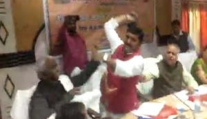 Watch video: BJP MP Sharad Tripathi thrashes party MLA with 'shoe' followed by heated argument