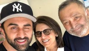 Ranbir Kapoor poses with ailing father Rishi Kapoor and mother Neetu Kapoor in this all happy family picture