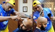 DJ Bravo turns 'Barber Bravo' for Chennai Super Kings player; see pictures