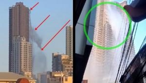 Earthquake viral video: Watch how dramatically water spills from a rooftop swimming pool on 48-floor building