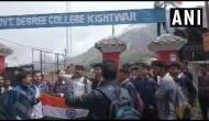 J&K: Govt college students protest demanding hoisting of national flag