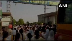 Students in Akal University protest after girls forced to strip over used sanitary pad