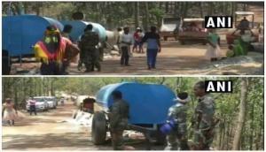 Construction of road underway in Naxal-affected area under CRPF, Chhattisgarh police security