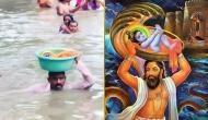 बाढ़ में बह रही थी बच्ची, बचाने के लिए टोकरी लेकर कूद गया पुलिसकर्मी, लोग बोले- कृष्ण भगवान को..