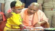 Gorakhpur: CM Yogi Adityanath celebrates 'Krishna Janmashtami' with children at Gorakhnath temple