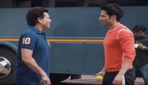Sachin Tendulkar plays cricket with Varun Dhawan and Abhishek Bachchan: Video