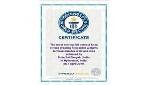 Hyderabadi youth sets Guinness World Record for one leg full contact knee strikes in 3 minutes