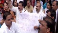 AAP MP Sanjay Singh protests outside residence of BJP leader Vijay Goel