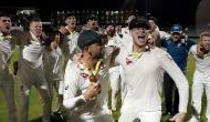 Steve Smith mocks England's Jack Leach while celebrating the victory at Old Trafford