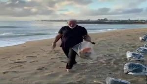 Watch: Leading by example, PM Modi cleans Mahabs sea beach