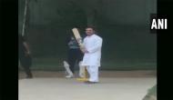Watch: Rahul Gandhi Plays cricket after his chopper makes emergency landing in Rewari college
